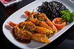 River prawn with black spaghetti in garlic sauce